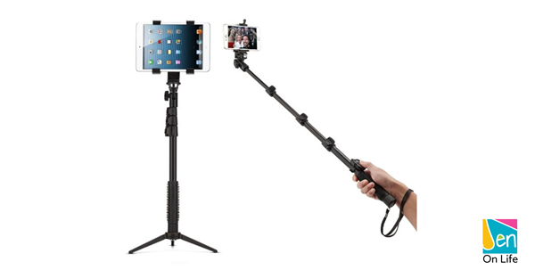 Selfie stick / tripod for an iPhone and iPad (phone and tablet).