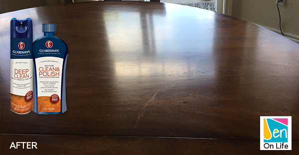 Table after using Guardsman Deep Clean and Wood Polish Cream
