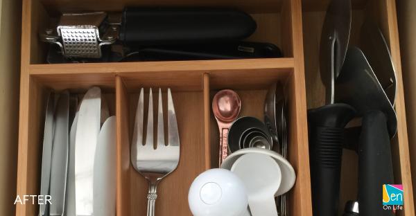 Organized drawer after using a drawer organizer.