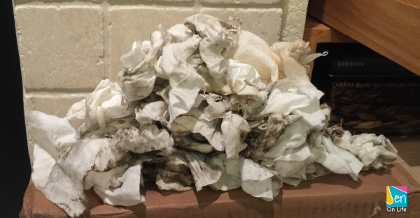 The dirty wipes I used to clean the fireplace