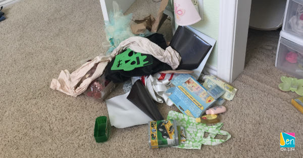 Trash Pile after spring cleaning closet